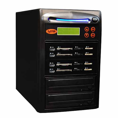 SySTOR 1:3 USB/SD/CF All in One Combo Flash Memory Card Duplicator - (SYS-USBSDCF-03) - Duplicator Depot