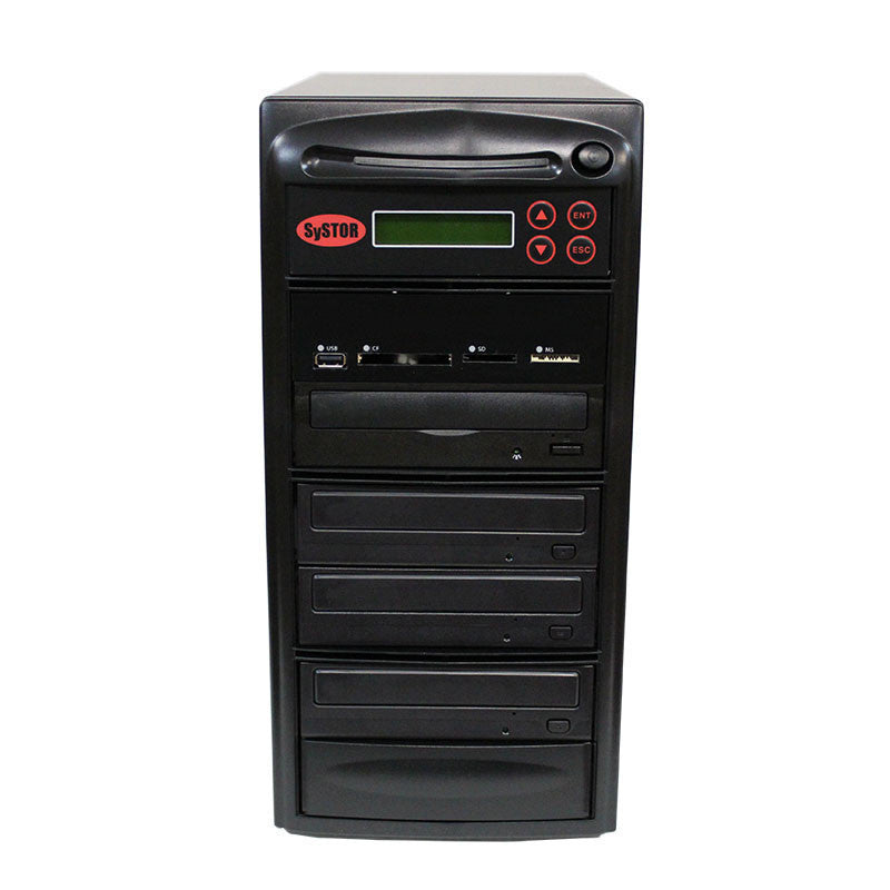 SySTOR 1:3 Blu-ray Duplicator + USB/SD/CF to Disc Copier Tower (BD-MBC-3) - Duplicator Depot