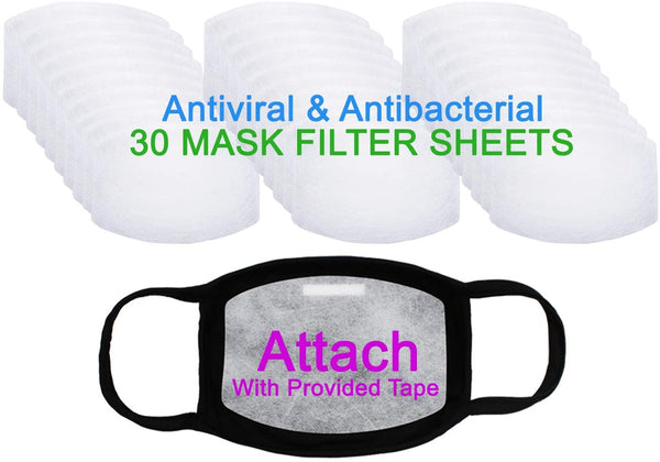 Amba7 MADE IN USA Reusable Breathable Cloth Face Mask - Machine Washable, Non-Surgical Double Layer Anti-Dust Protection, Unisex - For Home, Office, Travel, Camping, or Cycling - 3 Pack With Filters (30 PCS) (In Stock)
