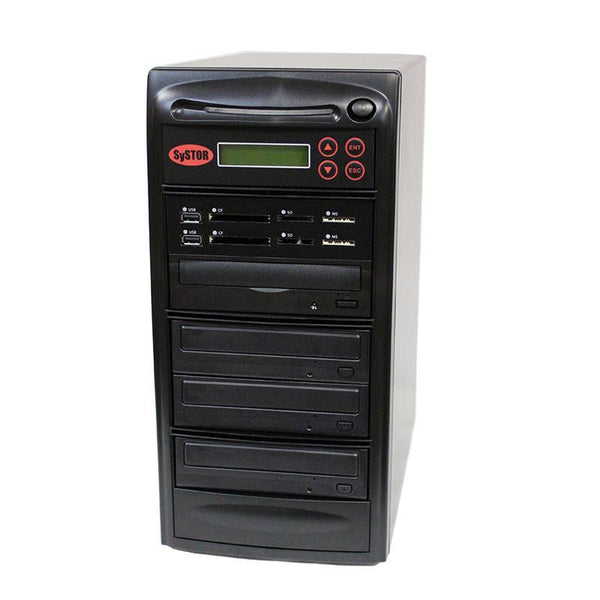 Systor MultiMedia Center PLUS - Flash Memory Drive (USB/SD/CF/MS/MMC) to Disc Backup + 1 to 3 SATA CD/DVD Duplicator - PMBC-P-03 - Duplicator Depot