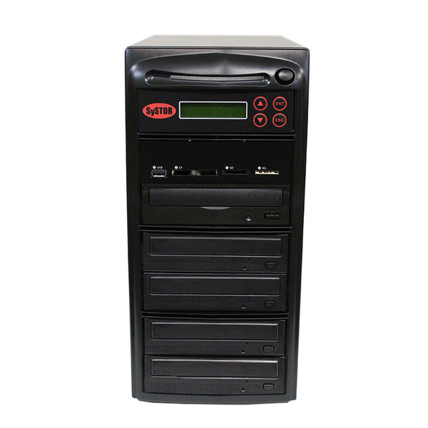 SySTOR 1:4 Blu-ray Duplicator + USB/SD/CF to Disc Copier Tower (BD-MBC-4) - Duplicator Depot