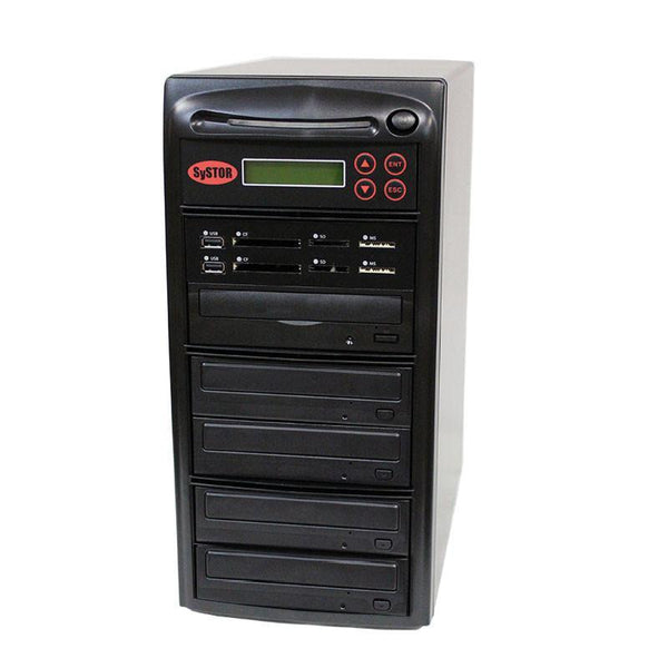 Systor MultiMedia Center PLUS - Flash Memory Drive (USB/SD/CF/MS/MMC) to Disc Backup + 1 to 4 SATA CD/DVD Duplicator - PMBC-P-04 - Duplicator Depot