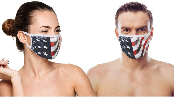 (IN STOCK) 3 Black (MADE IN USA), 2 US Flag (Made in Guatemala), Washable Reusable Anti-dust Cloth Face Mask Protection Double Layer Covering, (5 Pack)
