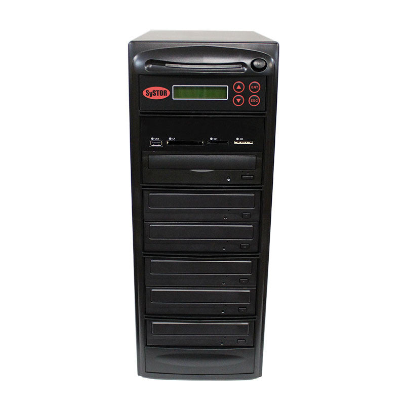 SySTOR 1:5 Blu-ray Duplicator + USB/SD/CF to Disc Copier Tower (BD-MBC-5) - Duplicator Depot