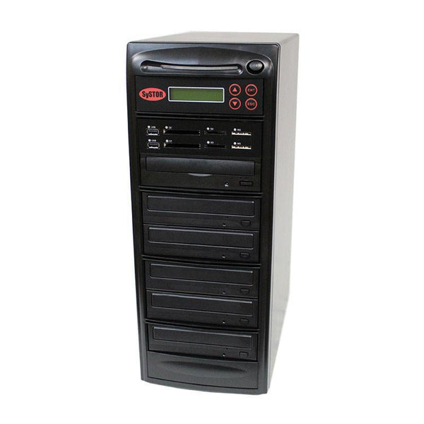Systor MultiMedia Center PLUS - Flash Memory Drive (USB/SD/CF/MS/MMC) to Disc Backup + 1 to 5 SATA CD/DVD Duplicator - PMBC-P-05 - Duplicator Depot