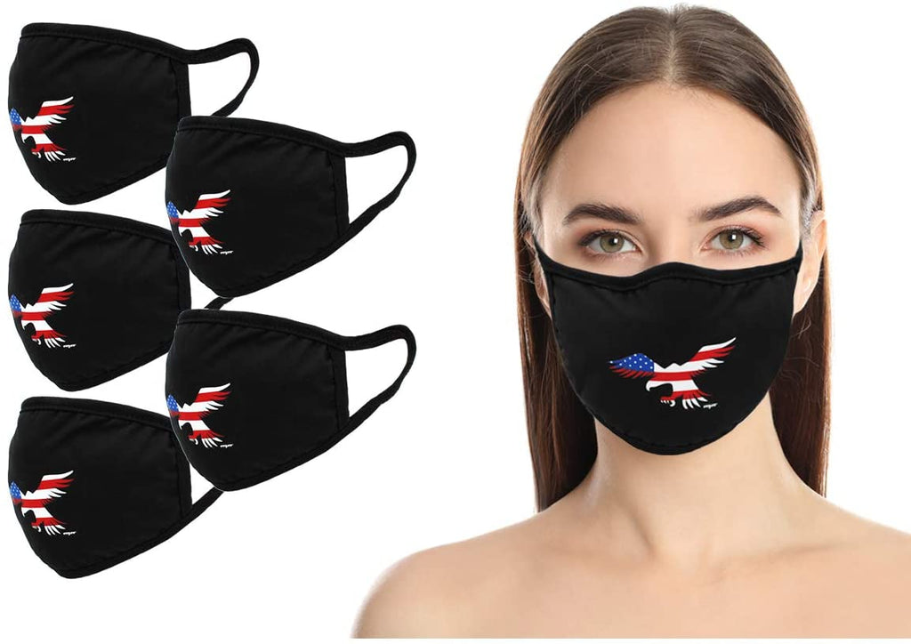 Amba7 USA Eagle Logo  Reusable Breathable Cloth Face Mask - Machine Washable, Non-Surgical Double Layer Anti-Dust Protection, Unisex - For Home, Office, Travel, Camping or Cycling  5-Pack, In Stock