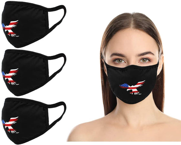 Amba7 USA Eagle Logo  Reusable Breathable Cloth Face Mask - Machine Washable, Non-Surgical Double Layer Anti-Dust Protection, Unisex - For Home, Office, Travel, Camping or Cycling  3-Pack, In Stock
