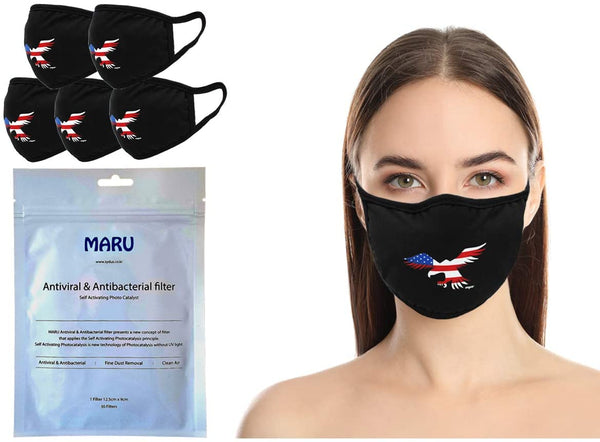 Amba7 USA Eagle Logo Reusable Breathable Cloth Face Mask - Machine Washable, Non-Surgical Double Layer Anti-Dust Protection, Unisex - For Home, Office, Travel, Camping or Cycling 5-Pack With Filters (30 PCS), In Stock