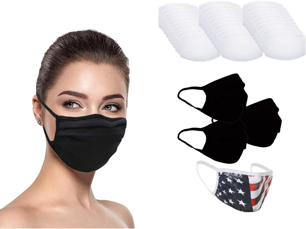 MADE IN USA (3 Black), 1 US Flag (Made in Guatemala), Washable Reusable Anti-dust Cloth Face Mask Protection Double Layer Covering (IN STOCK 2-5 DAYS DELIVERY) - 4 Pack With Filters (30 PCS)