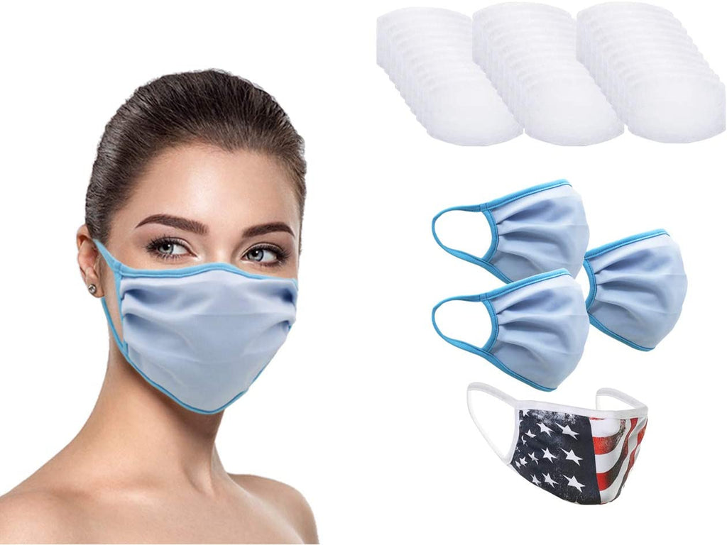MADE IN USA (3 Sky Blue), 1 US Flag (Made in Guatemala), Washable Reusable Anti-dust Cloth Face Mask Protection Double Layer Covering (IN STOCK 2-5 DAYS DELIVERY) - 4 Pack With Filters (30 PCS)
