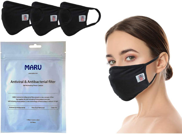 Amba7 Reusable Breathable Cloth Face Mask MADE IN USA - Machine Washable, Non-Surgical Double Layer Anti-Dust Protection, Unisex - For Home, Office, Camping - 3 Pack With Filters (30 PCS) In Stock