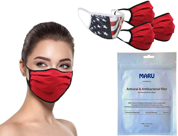 MADE IN USA (3 Red), 1 US Flag (Made in Guatemala), Washable Reusable Anti-dust Cloth Face Mask Protection Double Layer Covering (IN STOCK 2-5 DAYS DELIVERY) - 4 Pack With Filters (30 PCS)