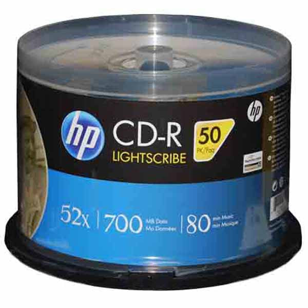 HP LightScribe CD-R Blank Disc Printable Media (CRLS52050CB) - 50pk - Duplicator Depot
