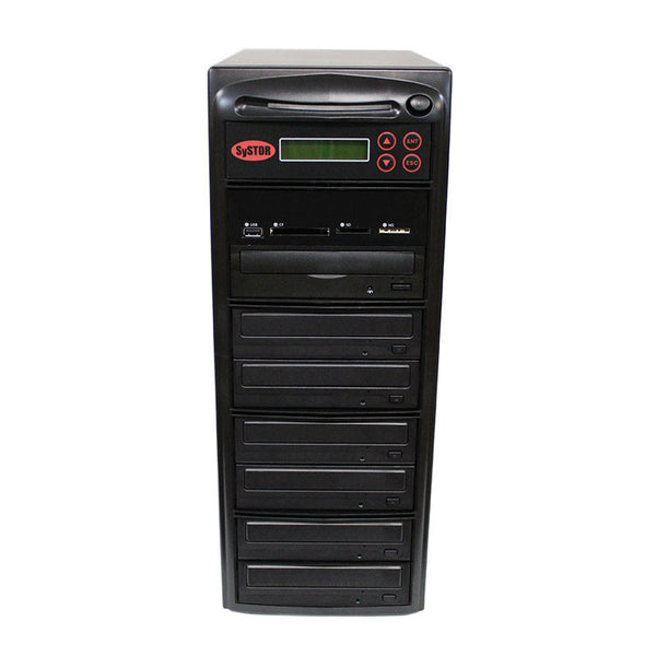 SySTOR 1:6 Blu-ray Duplicator + USB/SD/CF to Disc Copier Tower (BD-MBC-6) - Duplicator Depot