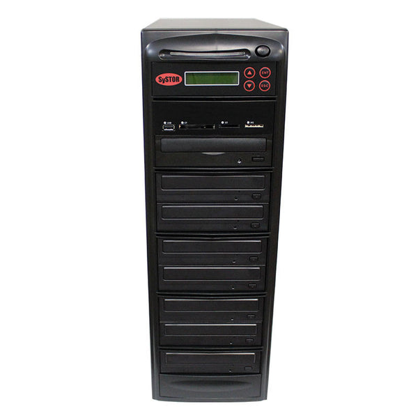 SySTOR 1:7 Blu-ray Duplicator + USB/SD/CF to Disc Copier Tower (BD-MBC-7) - Duplicator Depot