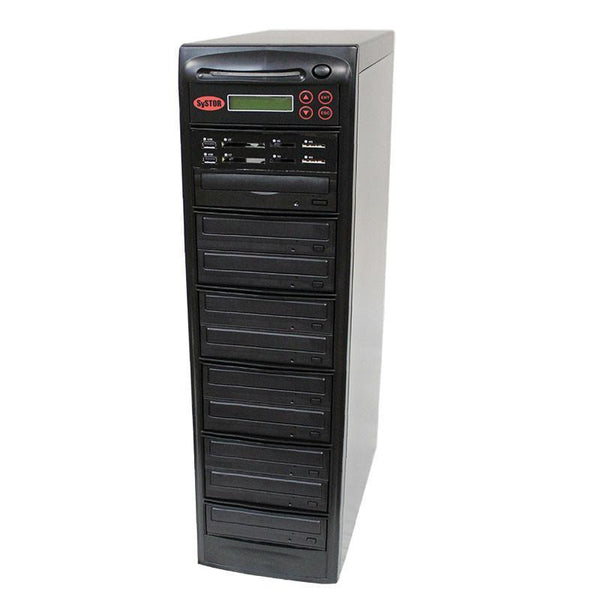 Systor MultiMedia Center PLUS - Flash Memory Drive (USB/SD/CF/MS/MMC) to Disc Backup + 1 to 9 SATA CD/DVD Duplicator - PMBC-P-09 - Duplicator Depot