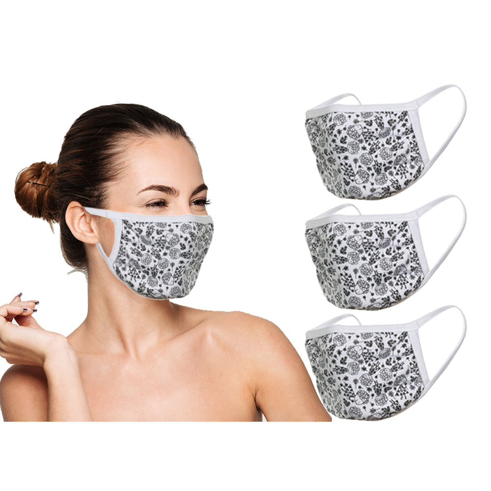 Amba7 Reusable Breathable Cloth Face Mask - Machine Washable, Non-Surgical Double Layer Anti-Dust Protection, Unisex - For Home, Office, Travel, Camping or Cycling (Flower Design 3-Pack) In Stock