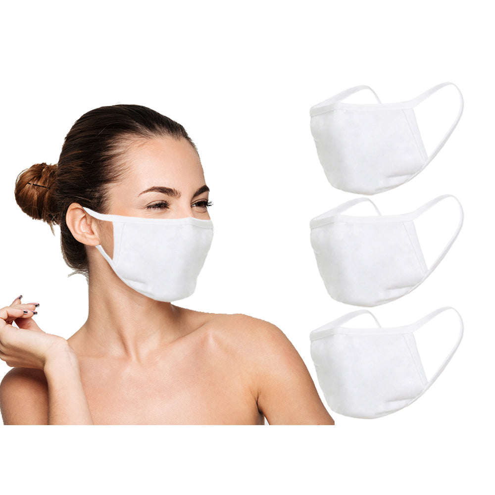 Amba7 Reusable Breathable Cloth Face Mask - Machine Washable, Non-Surgical Double Layer Anti-Dust Protection, Unisex - For Home, Office, Travel, Camping or Cycling (White 3-Pack) In Stock