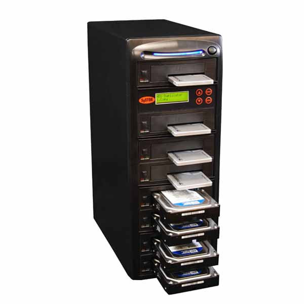 "SySTOR 1:7 SATA 2.5"" & 3.5"" Dual Port/Hot Swap Hard Disk Drive / Solid State Drive (HDD/SSD) Clone Duplicator/Sanitizer - High Speed (150MB/sec) (SYS207HS-DP) - Duplicator Depot"