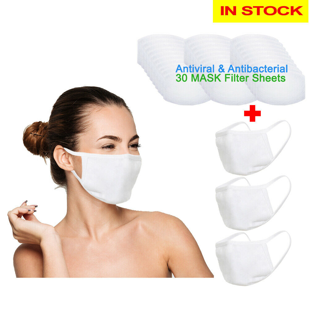 Amba7 Reusable Breathable Cloth Face Mask - Machine Washable, Non-Surgical Double Layer Anti-Dust Protection, Unisex - For Home, Office, Travel, Camping or Cycling (White 3-Pack With Filters (30 PCS)) In Stock