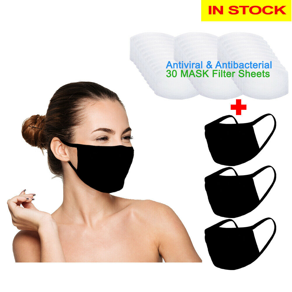 Amba7 Reusable Breathable Cloth Face Mask - Machine Washable, Non-Surgical Double Layer Anti-Dust Protection, Unisex - For Home, Office, Travel, Camping or Cycling (Black 3-Pack With Filters (30 PCS)) In Stock