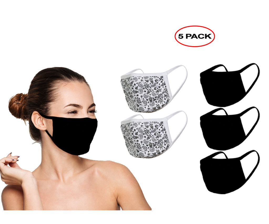 Amba7 Reusable Breathable Cloth Face Mask - Machine Washable, Non-Surgical Double Layer Anti-Dust Protection, Unisex - For Home, Office, Travel, Camping or Cycling (3 Black + 2 Flower Design) In Stock