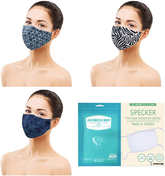 Amba7 Washable Reusable Breathable Cloth Face Mask - Machine Washable Double Layer Protection, Unisex (US In stock) (3pc - Woven Series Mask with 30 PCS Filter)