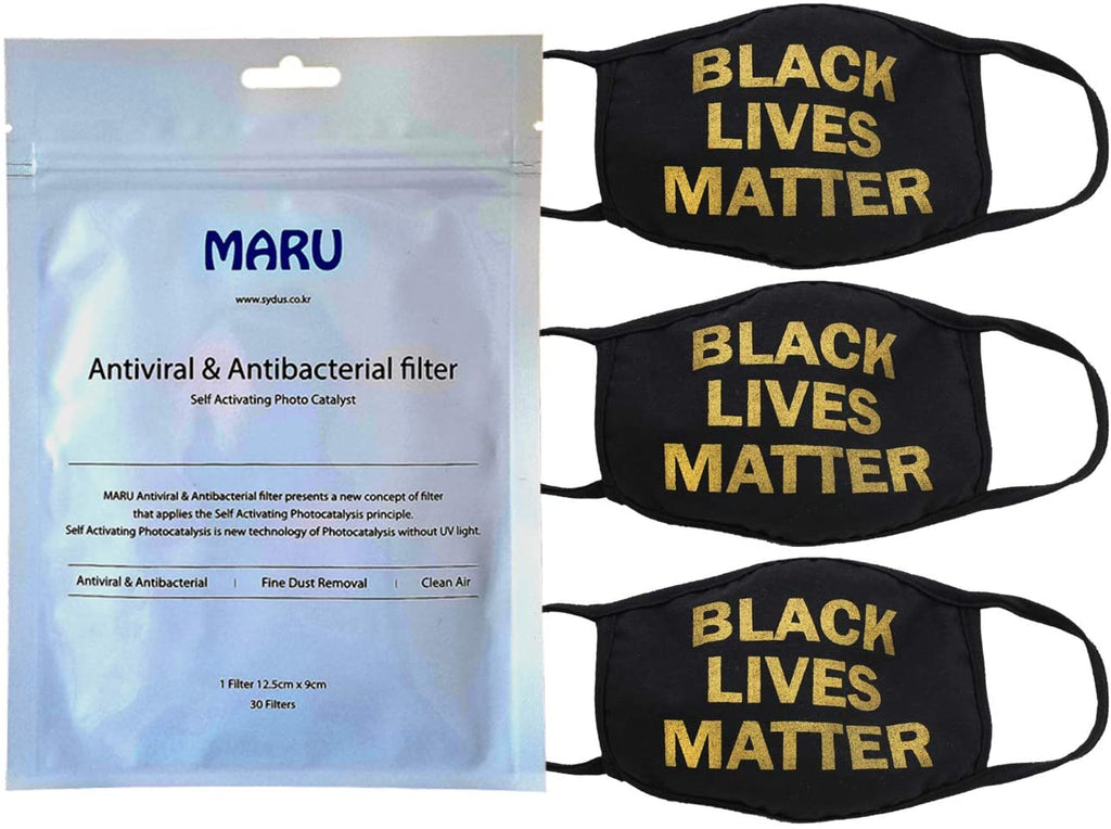 Amba7 Black Lives Matter Reusable Breathable Cloth Face Mask MADE IN USA  - Machine Washable, Non-Surgical Double Layer Anti-Dust Protection, Unisex - For Home, Office, Camping-3 Pack With Filters (30 PCS) In Stock