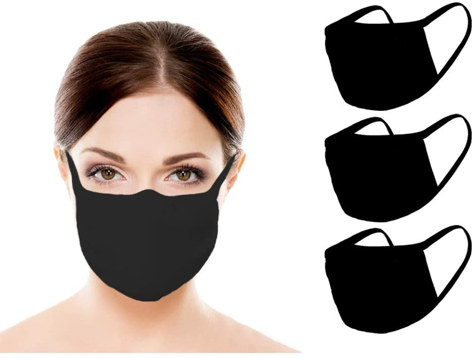 Amba7 MADE IN USA Reusable Breathable Cloth Face Mask - Machine Washable, Non-Surgical Double Layer Anti-Dust Protection, Unisex - For Home, Office, Travel, Camping, or Cycling - 3 Pack (In Stock)
