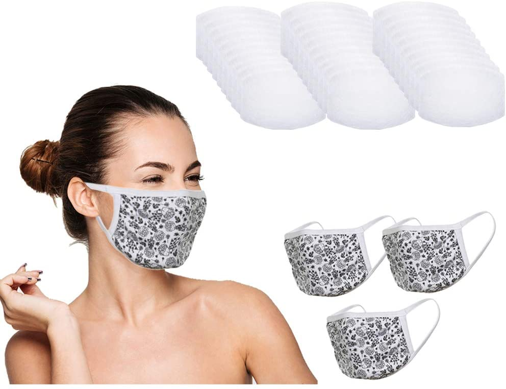 Amba7 Reusable Breathable Cloth Face Mask - Machine Washable, Non-Surgical Double Layer Anti-Dust Protection, Unisex - For Home, Office, Travel, Camping or Cycling (Flower Design 3-Pack With Filters (30 PCS)) In Stock