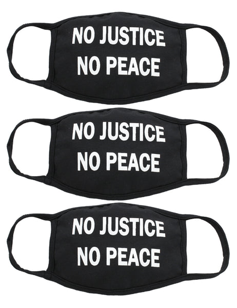 Amba7 No Justice No Peace Reusable Breathable Cloth Face Mask MADE IN USA - Machine Washable, Non-Surgical Double Layer Anti-Dust Protection, Unisex - For Home, Office, Camping-3 Pack In Stock