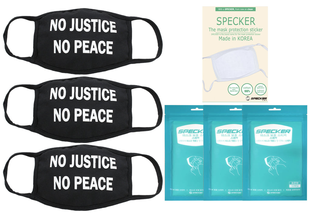 Amba7 No Justice No Peace  Reusable Breathable Cloth Face Mask MADE IN USA  - Machine Washable, Non-Surgical Double Layer Anti-Dust Protection, Unisex - For Home, Office, Camping  -3 Pack With Filters (30 PCS) In Stock
