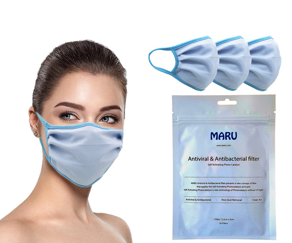 Amba7 MADE IN USA Reusable Breathable Cloth Face Mask - Machine Washable, Non-Surgical Double Layer Anti-Dust Protection, Unisex - For Home, Office, Travel, Camping or Cycling (SKY BLUE 3-Pack With Filters (30 PCS)) In Stock