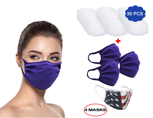 MADE IN USA (3 Purple), 1 US Flag (Made in Guatemala), Washable Reusable Anti-dust Cloth Face Mask Protection Double Layer Covering (IN STOCK 2-5 DAYS DELIVERY) - 4 Pack With Filters (30 PCS)