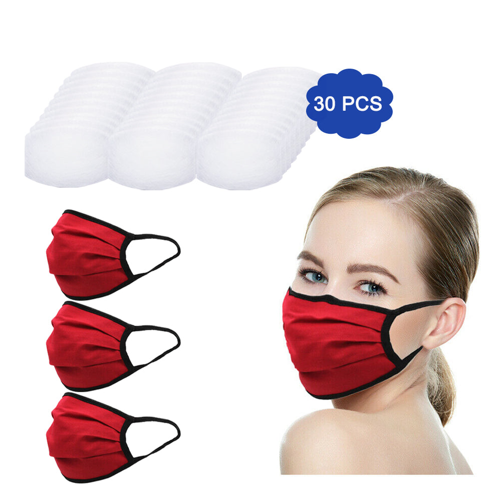 Amba7 MADE IN USA Reusable Breathable Cloth Face Mask - Machine Washable, Non-Surgical Double Layer Anti-Dust Protection, Unisex - For Home, Office, Travel, Camping or Cycling (RED 3-Pack With Filters (30 PCS)) In Stock