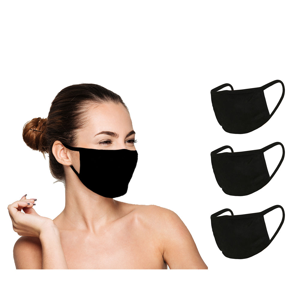 Washable Reusable Face Cover (3 Pack) - Double Layer For Dust Particle & Droplet Protection - Unisex, Black - Duplicator Depot