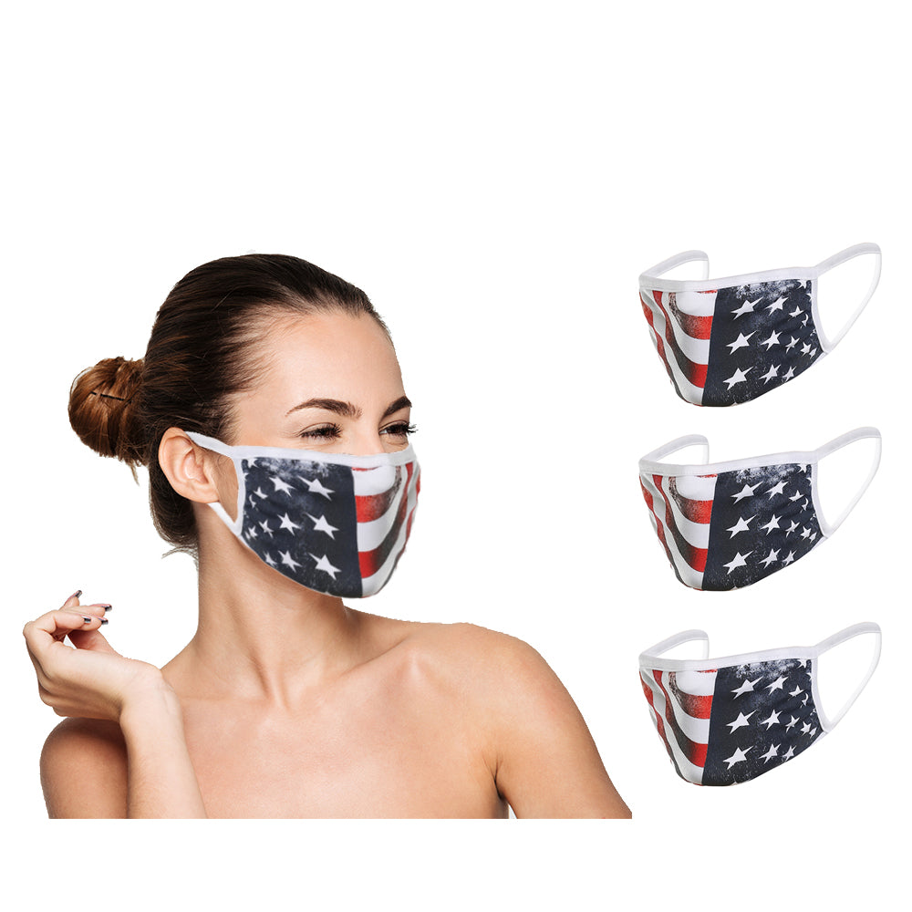 Washable Reusable Face Cover (3 Pack) - Double Layer For Dust Particle & Droplet Protection - Unisex, USA Flag - Duplicator Depot