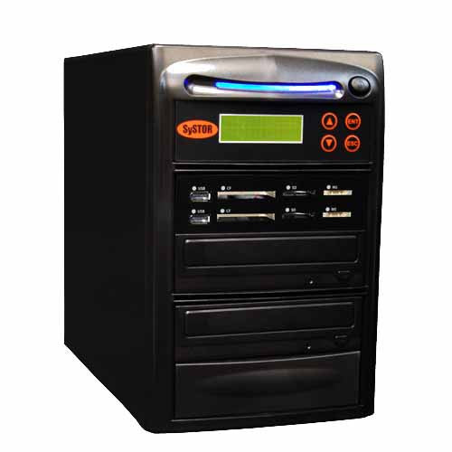 Systor 1:1 All-in-One Combo - Flash Media Card (USB/SD/CF/MS) + Single CD/DVD Disc Duplicator - SYS-USBSDCF-1 - Duplicator Depot