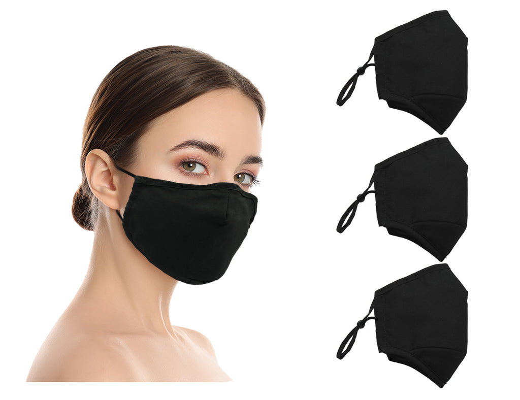 Amba7 Washable Reusable Anti-dust Cotton Cloth Face Mask Double Layer Covering 3 Pack - In Stock USA Seller