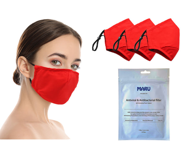 Amba7 Washable Reusable Anti-dust Cotton Cloth Face Mask Double Layer Covering 3 Pack With Filters (30 PCS) - in Stock USA Seller