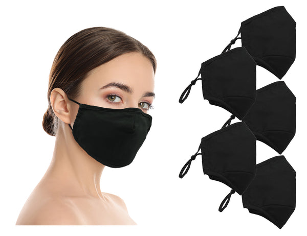 Amba7 Washable Reusable Anti-dust Cotton Cloth Face Mask Double Layer Covering 5 Pack - In Stock USA Seller