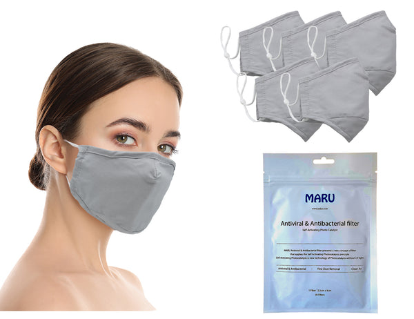 Amba7 Washable Reusable Anti-dust Cotton Cloth Face Mask Double Layer Covering 5 Pack With Filters (30 PCS) - in Stock USA Seller