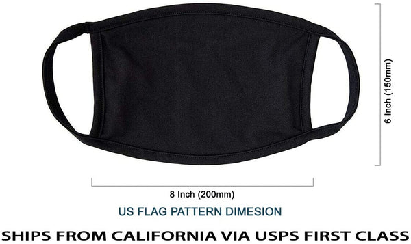 MADE IN USA (3 Black), 1 US Flag (Made in Guatemala), Washable Reusable Anti-dust Cloth Face Mask Protection Double Layer Covering (IN STOCK 2-5 DAYS DELIVERY) - 4 Pack