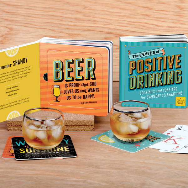 Coaster Books: Unwind, grab a drink, and have a laugh with these pop-out book of coasters designed with witty quotes and sayings!