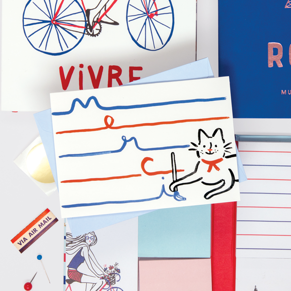 Marie Claire Parcel Merci Notecards: Send a French-inspired greeting with these notecards featuring red, white, and blue designs and illustrations!