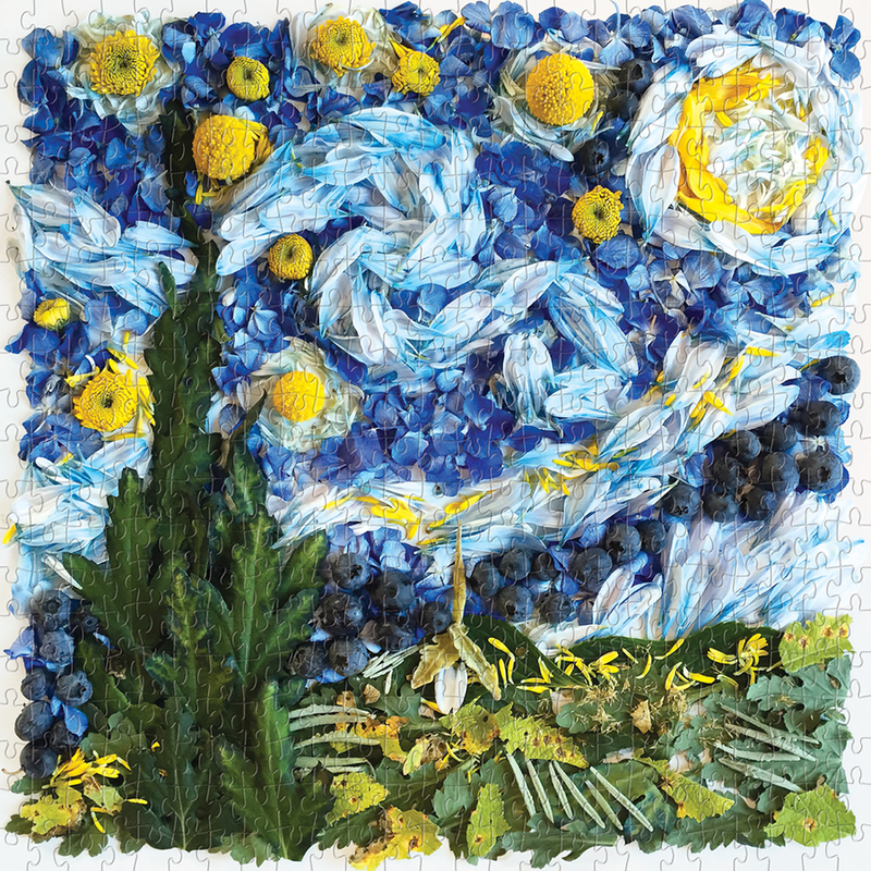 The Starry Night Petals 500 Piece puzzle features a beautiful rendering of Vincent Van Gogh's iconic masterpiece, The Starry Night, with flower petals