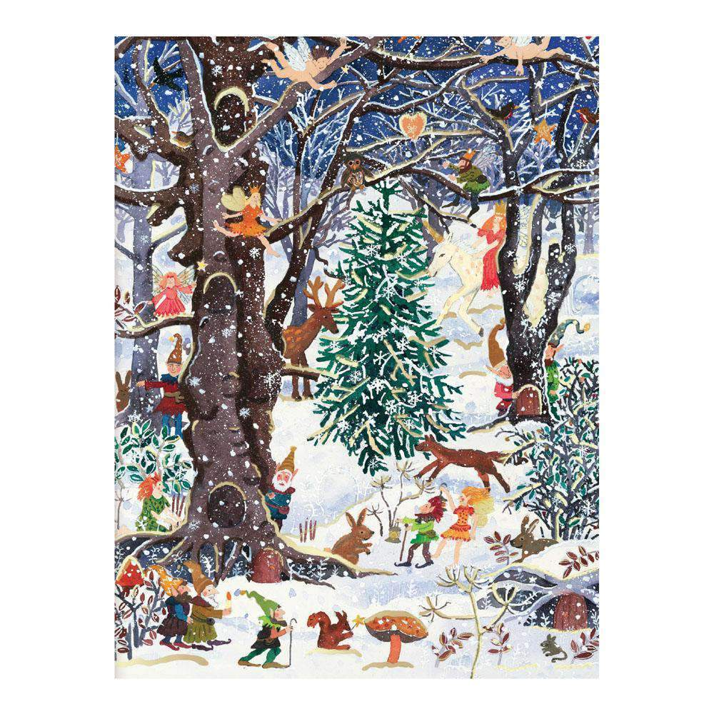 Advent Forest Large Embellished Notecards Holiday Notecards Galison