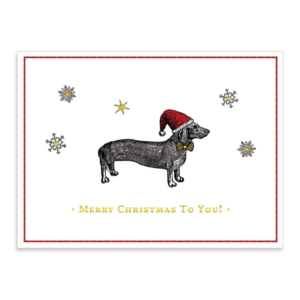 Alice Scott Christmas Dachshund Embellished Notecards Holiday Notecards Galison