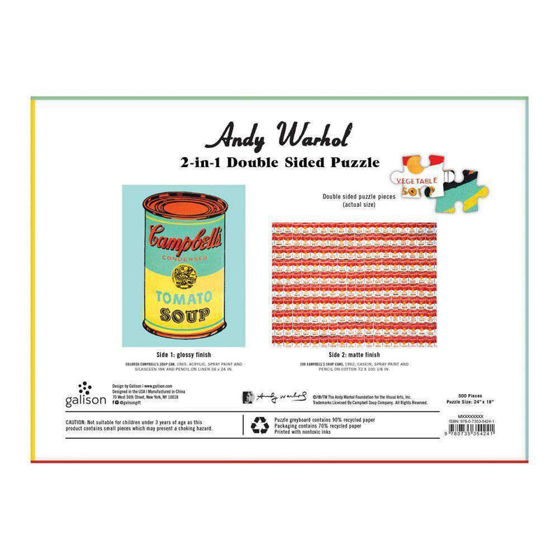Andy Warhol Soup Can 2-sided 500 Piece Puzzle 2-sided 500 Piece Puzzles Galison