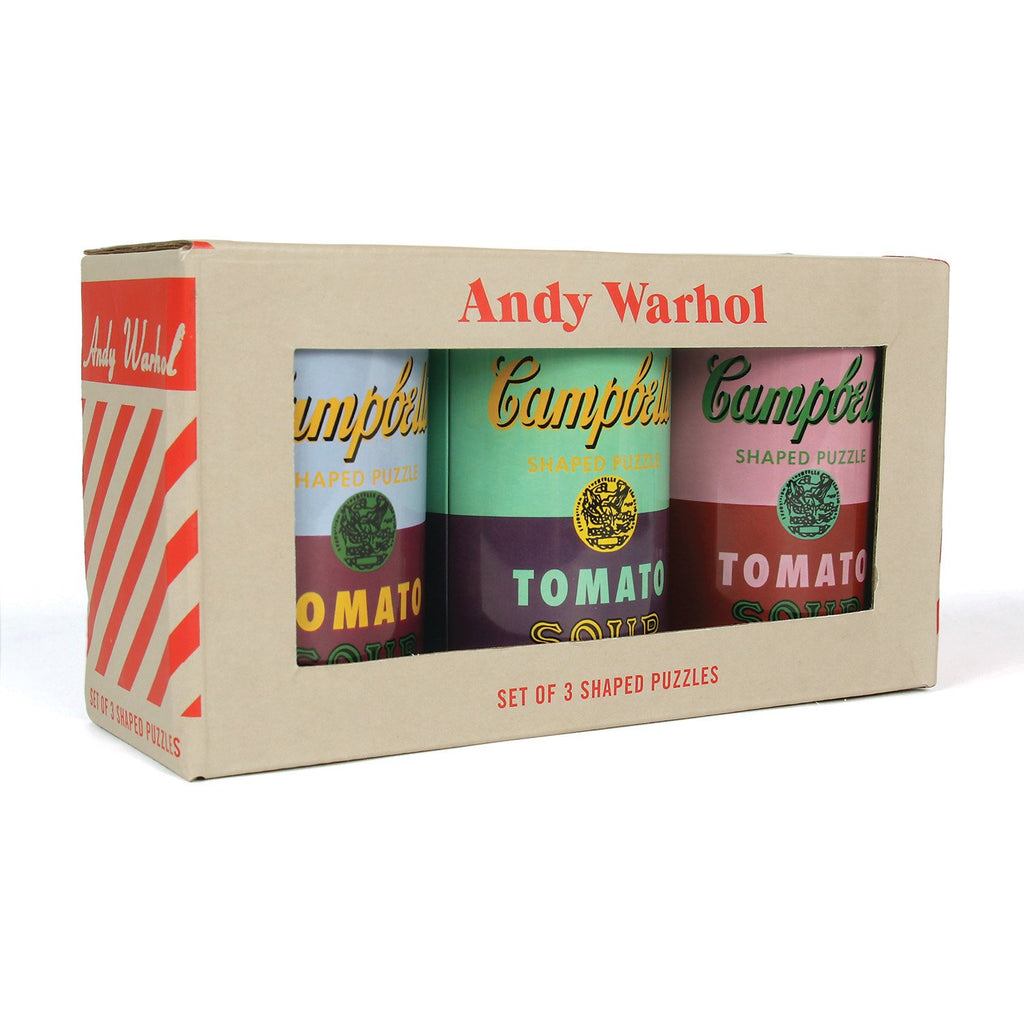 Andy Warhol Soup Cans Set of 3 Shaped Puzzles in Tins Set of 3 Shaped Puzzles in Tins Andy Warhol Collection